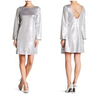 The Vanity Room Shine & Bell Sleeves Dress