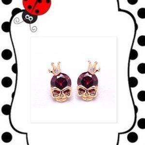 Unique Skull Red Pierced Earrings