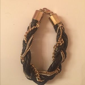 Leather and chains braided bracelet