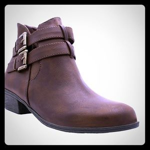 Distressed Brown Double Buckle Boot