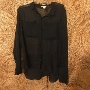 High low button up black chiffon top.