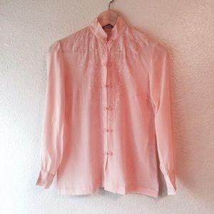Vintage 100% silk blush pink Asian shirt blouse s