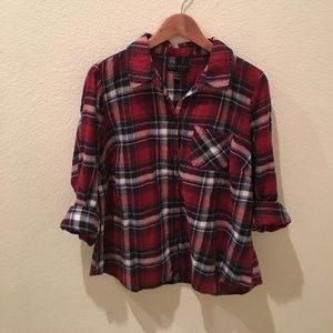 {Forever 21} Plaid Lightweight Flannel Button Down