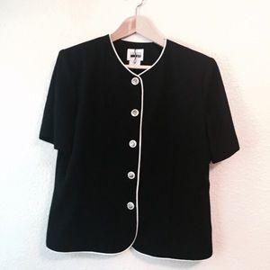 Vintage classic black shirt white piping 14 Petite