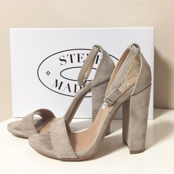 97b309e68c1 Steve Madden Carson Sandal Heel Taupe Suede Size 5.  M 59eee42f291a3595790172f7