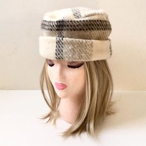 "Vintage Jacob Wool Ladies Plaid Hat with 2"" Cuff❤️"