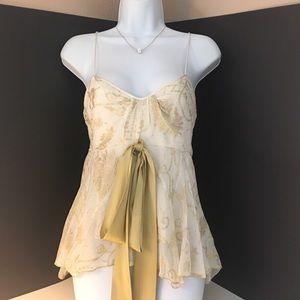 Diane Von Furstenberg Cream and Gold Silk Cami