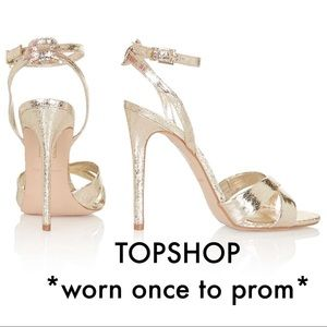 Topshop gold strappy heels
