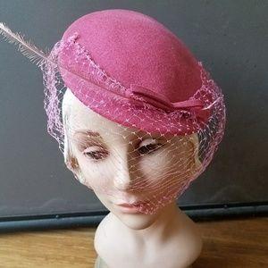 Vintage 50s pink fascinator tilt cocktail HAT
