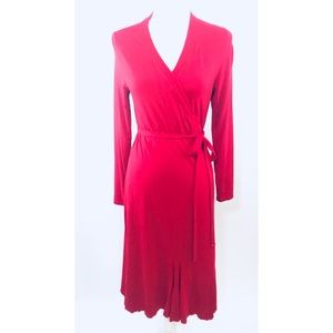 BODEN Red Long Sleeve Wrap Dress