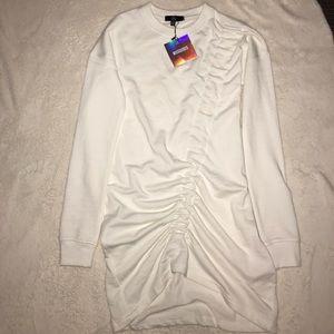 white ruched sweatshirt dress