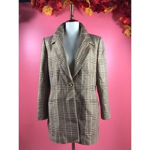 Vtg 90s Escada Houndstooth Gold Detail Blazer 10