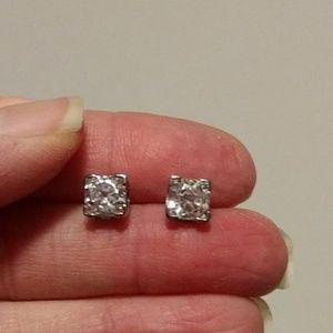Steel by design asscher cut CZ stud earrings
