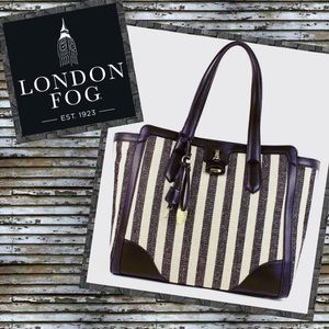 London Fog Skyler Striped Tote Bag