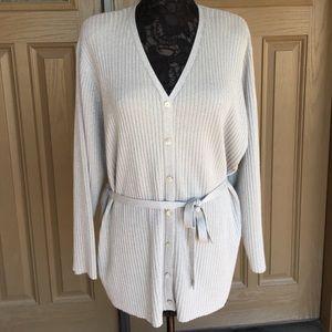 Karen Scott Shimmering Long Grey Sweater