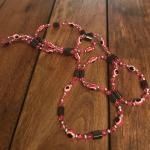 pink magneted and beaded necklace