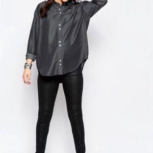 ASOS || Oversized Tencel Shirt In Washed Black