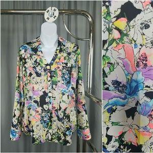 Watercolor Floral Button Down Blouse