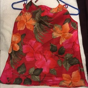 Silk Red Floral Halter Top by GAP