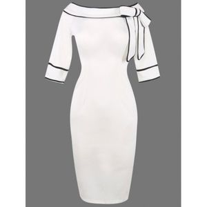 Boat Neck Bowknot Embellished white Dress