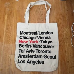 American apparel cities print denim tote