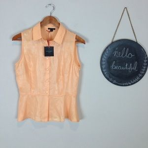 Cynthia Rowley Sheer Peplum Tank Orange Size S