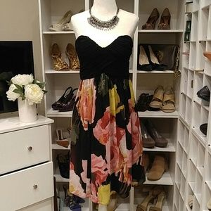 DONNA MORGAN BLACK FLORAL STRAPLESS DRESS 4