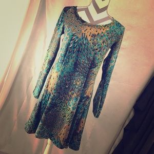 Peacock long sleeve midi hand made dress
