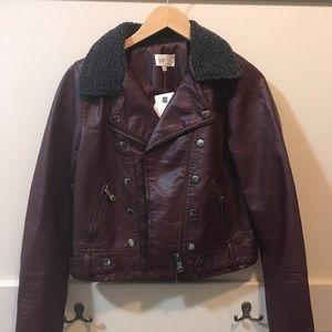 Jolt burgundy vegan leather jacket