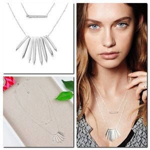 Stella Dot Rebel Cluster Necklace Silver Spike