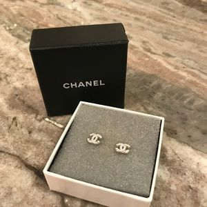 Chanel CC Mini Stud Crystal Earrings -AUTHENTIC