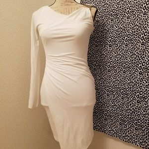 Bebe assymetrical white dress