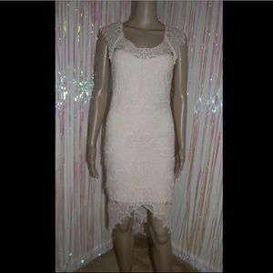 Beige Lace Hi Lo Dress 563