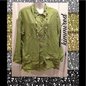 NY & Co. Green Linen Jacket ~ Large