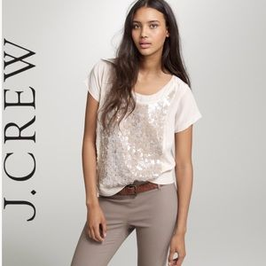 🆕J. Crew Sequin Scoopneck Dusty Rose Silk Top