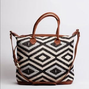 Tribe Alive Chevron Brocade Overnight Bag