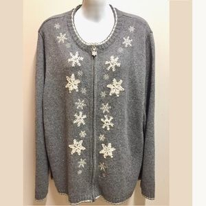 Snowflake Ugly Christmas Sweater 2X Gray and White