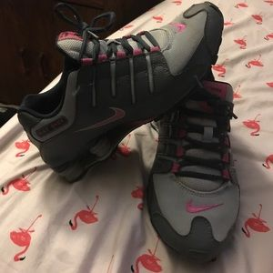 Grey and pink Nike Shox