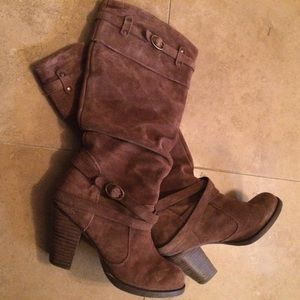 Steve Madden Evvie Slouch Leather Suede Boots 7.5M
