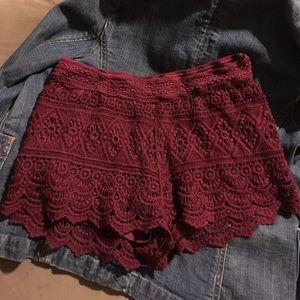 Trillium Jessica Burgundy Crochet Shorts