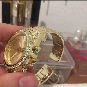 Faux gold sterling silver diamond watch