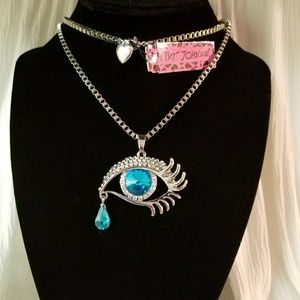 Tearing Blue Eye Crystals Pendant Sweater Necklace