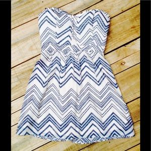 Teeze Me Blue Chevron & Creme Strapless Mini Dress