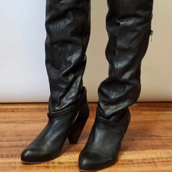 fd83bb4c2b1 Diesel Black Leather Knee-High Boots Womens 7.5,8