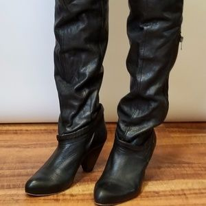 Diesel Black Leather Knee-High Boots Womens 7.5,8