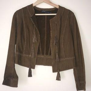 Ralph Lauren Cropped Brown Suede Jacket