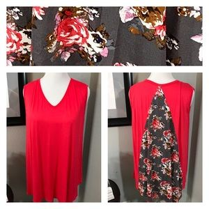 ⭐️NWOT coral/red sleeveless top floral back panel