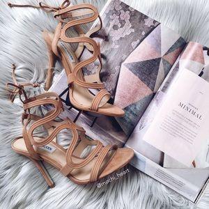 Steve Madden tan leather caged stiletto heel