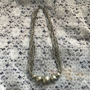Vintage Ball Necklace Silver Tone Metal