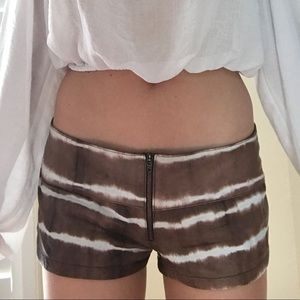 Acacia Leather Zip Up Striped Shorts